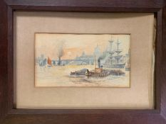 A watercolour 'A view of St Paul from the thames with tugs', framed (Frame size 60x45cm)