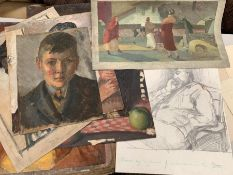 Bernard Robinson (1912-1970) English & others, a selection of unframed pencil and oil paintings,