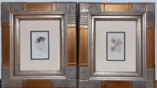 A pair of Postcards from 1910's, framed and glazed, (12.5x7.5 cm). (2)