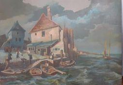 Bernard Robinson (1912-1970) English, 'Sea village', unsigned, oil on board, unframed, (47x65 cm).