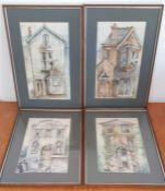 A group of four watercolours signed: 'Danielle' in '85, framed and glazed, (33x19.5 cm). (4)