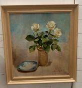 Harriet Salt (1975) English, 'Still live with roses', signed, oil on canvas, framed, (69cm x 75cm)