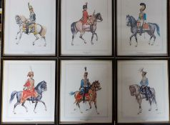 A suite of six prints after Wolfgang Tritt, depicting European and English Hussars, framed and