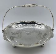 A Chinese silver basket with engraved Dragon decoration, mark to base. (Approx Weight 310g)