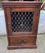 A Laura Ashley side cabinet with metal lattice work to front (H90cm W62cm D46cm)