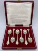 A Boxed set of six hallmarked silver reproduction Charles II 'Trifid' or Lace Back spoons by Francis