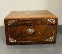 A Victorian dressing/work box, fitted interior with glass jars and white metal tops with a concealed