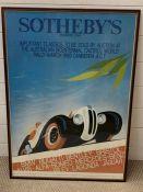 A Vintage Sotheby's Car Poster (62cm x 87cm)