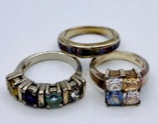 A selection of three quality silver fashion rings