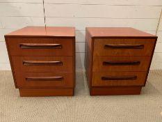 A pair of Mid Century bedsides (H52cm W48cm D44cm)