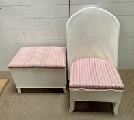 A Lloyd Loom style upholstered chair and laundry basket
