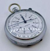 A Nero Lemania nickel cased chronograph stopwatch