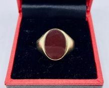 An 8ct yellow gold and blood stone