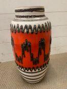 A West German lava floor vase by Scheurich (H54cm) 553-52