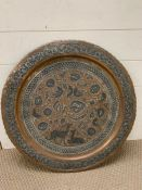 A tin on copper tray with deer to front possibly Persian (Dia60cm)