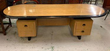 An Art Deco desk (H72cm W240cm D89cm)