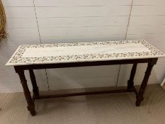 A marble console table with mother of pearl floral inlay Height 93 cm x Depth 49 cm x Width 174 cm