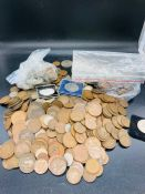 A large quantity, about five kilos of British pre-decimal coins fathings to crowns