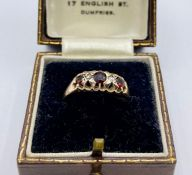 A Victorian Rose Gold, garnet and diamond ring.