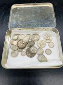 A quantity of pre 1947 British silver coins