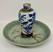 A Late 19th / Early 20th Chinese vase (17cm H) along with an Oriental bowl (25cm diameter)