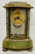 A French eight day onyx and cloisonné mantle clock with mercury movement for Hamilton in Edinburgh
