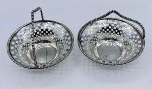 Pair of pierced silver baskets, hallmarked for Birmingham 1909 by William Hair Haseler; W H