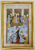 A framed Persian watercolour of a court scene