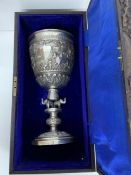 A Boxed Indian Silver trophy awarded by the Liverpool Cotton Association Rifle Shooting