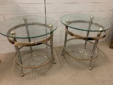 Two glass Mid Century two tier side tables (H60cm Dia60cm)
