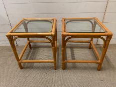 Two cane side tablets with glass top (H44cm Sq40cm)