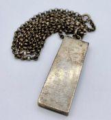 A Hallmarked single ingot necklace on chain