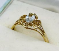 A 9ct gold ring with aquamarine