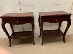 A pair of dark wood bedsides with drawers to centre (H71cm W60cm D36cm)