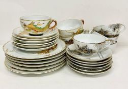 A selection of Japanese china to include a part tea set with Geisha to the bottom of the cups