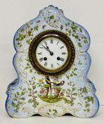 A porcelain mantle clock with birds of paradise to front AF (H30cm W26cm)
