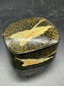 A Papier Mache box with swan decoration