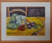 """Katie Andrews, """"Still life with yellow cloth"""", signed with initials, from the personal collection of"""
