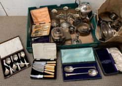 A selection of silver plated items