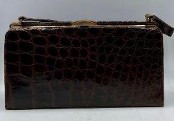A vintage Fassbender brown crocodile handbag, made in England