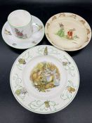 A small selection of nursery china to include Crown Staffordshire Georgie Porgie tea cup and
