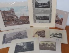 A group of 8 mounted prints depicting English landscapes with arquitecture, (35x22 cm largest). (8)