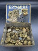 A Box of various military buttons, cap badges etc.