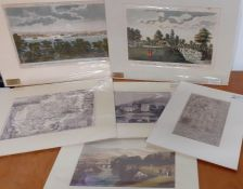 A group of 6 mounted prints depicting English landscapes and maps, (19x28 cm largest). (6)