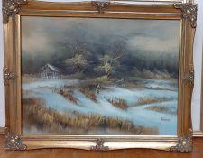 A winter landscape, signed: 'Johnson', oil on canvas, framed, (31x40.5 cm).
