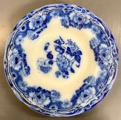 Three New Wharf pottery Co Cambridge Semi Porcelain Flow Blue plate and two bowls