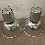 A pair of Mid Century industrial factory pendant lamps/lights (H61cm Dia50cm)