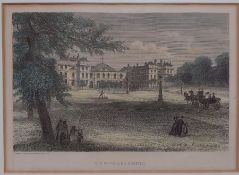 A print of 'The Foundling Hospital', framed and glazed, (15.5x22 cm).