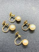 Two pairs of 9ct gold pearl earrings