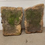 Two faux stone tablets (Ten Commandments) inscribed from the movie the Ten Commandments inscribed in